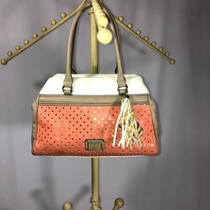Guess coral tan white hand bag satchel zip top